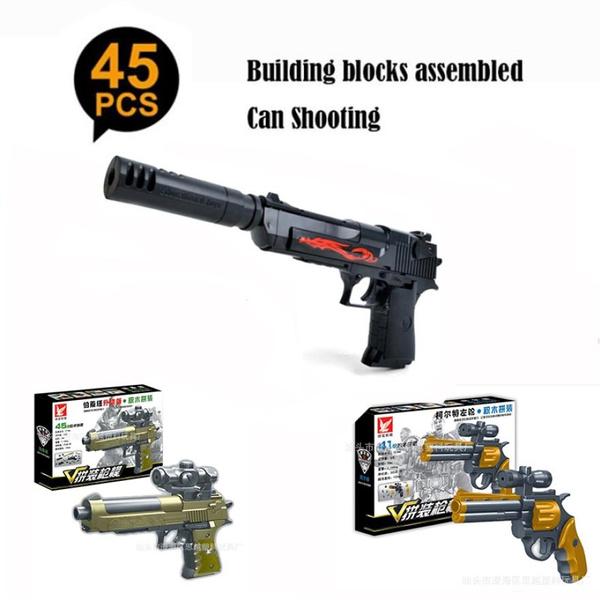 Assembled silencer barrel Desert Eagle M92 Bletta Colt revolver Upgraded  version modular toy pistol with combination blocks 777A Can shooting