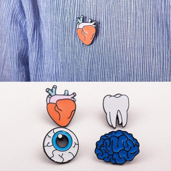 Xumengwu 4pcs Colorful Metal Enamel Pins Cute Brooch Set Heart Eye Tooth  Brain Brooch Pins Jewelry For Best Friend/ Kids Gift (Color: Multicolor)