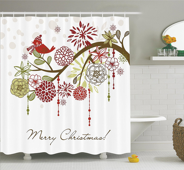 Christmas Bathroom Curtains.Merry Christmas Shower Curtain Christmas Bathroom Curtains Fabric Shower Curtain Xmas Floral Winter Themed Red Bird With Hat And Scarf On Blooming