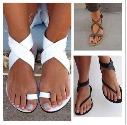 Picture of Women's Fashion Summer Sexy Flat White Sandals Flip Flop Bohemian Sandals Ankle Casual Roman Sandals