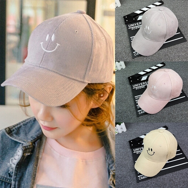 Personality Design Fashion Decoration Mens Womens Boys Love Adjustable Dome  Hat Smiling Face Embroidery Corduroy Baseball Cap Golf Baseball Hat