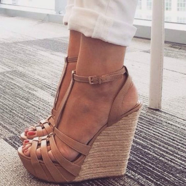 Picture of Women's Open Peep Toe High Platform Summer Wedge Sandals