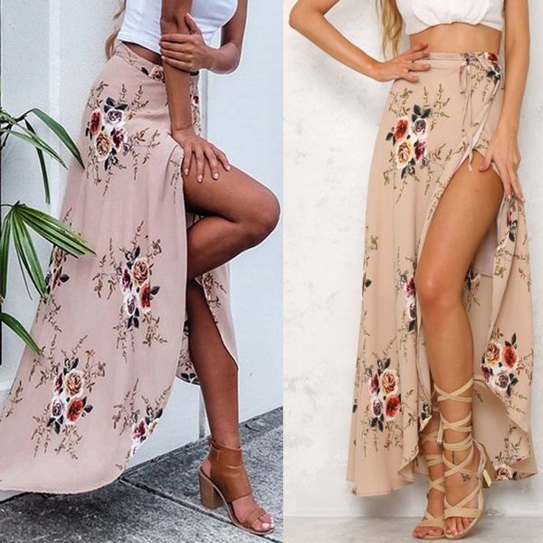 87ebb79f3c Vintage Floral Print Long Skirts Women 2017 New Style Summer Elegant ...