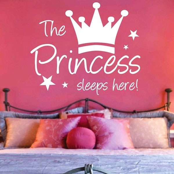 Sweet The Princess Sleeps Here Wall Sticker Decal Kid Room Decor Removable  Black Color (Size: 36cm by 24cm, Color: Black)