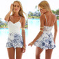Picture of Fashion Sleeveless Jumpsuit Contracted Long Floral Print Elegant Backless Mini Short Rompers