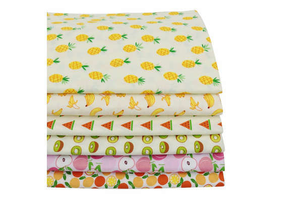 6pcs/lot 15.7inchesx19.7inches Fruits Printed Cotton Fabric for Patchwork Sewing Tissu