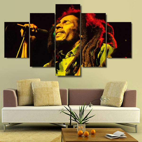 Wish | No Frame Bob Marley Live on Painting on Canvas Print 5 Panels ...