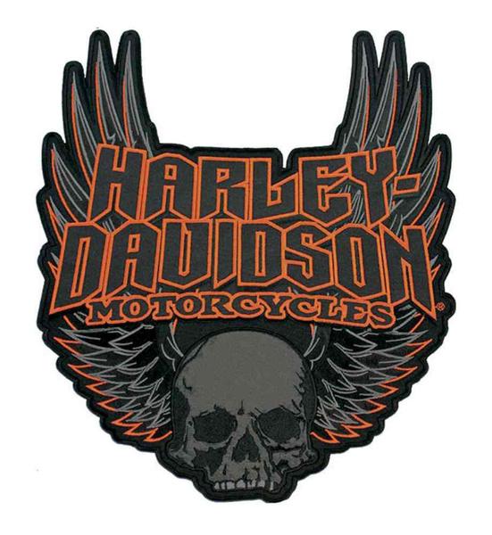 3XL Size Patch EM108307 Harley-Davidson Gothic Winged Skull Embroidered Emblem