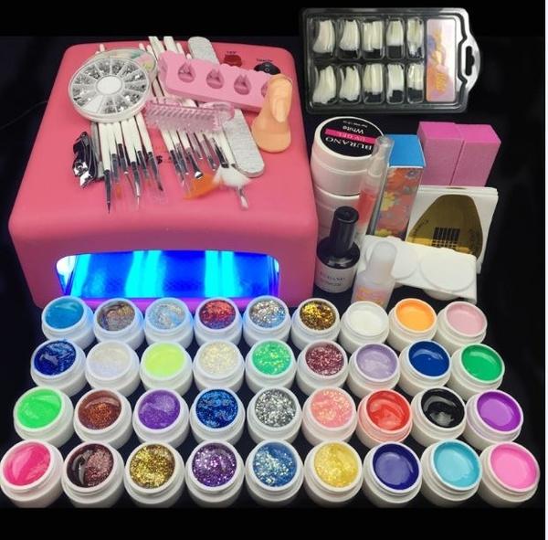 36 W UV Lamp and 36 Colors UV Gel Nail Art Nail Tools Set Nail ...