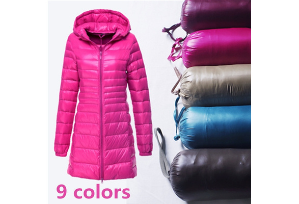 2017 New Ladies Long Winter Warm Coat Women Ultra Light 90% White Duck Down Jacket With Bag Women Jackets High Quality