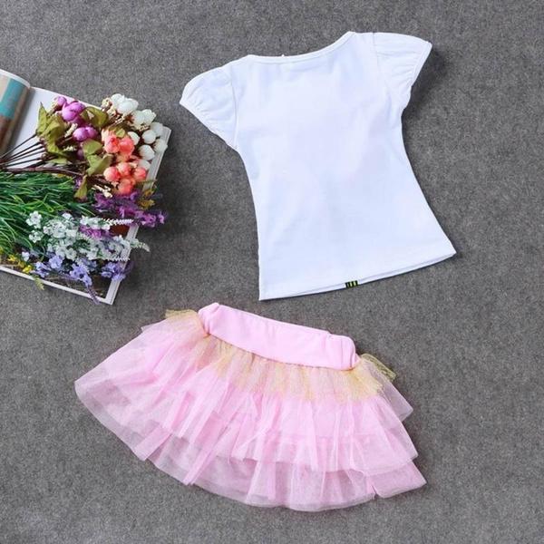 Kids Girls Princess Wedding Flower T-Shirt Tulle Tutu Dresses Set
