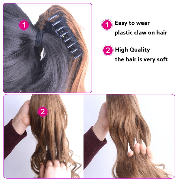Wish 1pc 24 Long Straight Synthetic Hair Extensions Ponytail Claw