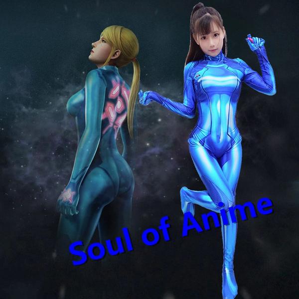 Zero Suit Samus Cosplay Costume Metroid Samus Aran Lycra Fabric Bodysuit