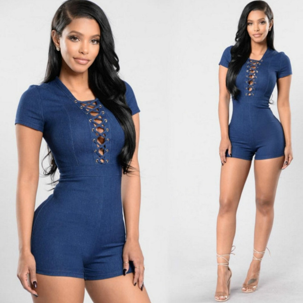 Picture of Denim Rompers Womens Bodysuit Casual Skinny Short Pants Lace Up Waist Coveralls Jumpsuits