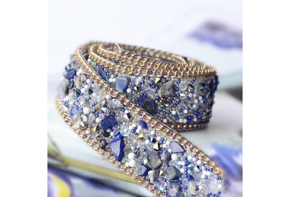 50cm Fake Gem Rhinestone Pearl Beaded Lace Fabric Trim Diy Wedding Dress Clothing Decorative Accessories Lace Patch 2cm Wide
