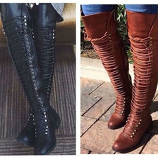 Knee High Boots, Plus Size, Leather Boots, Winter