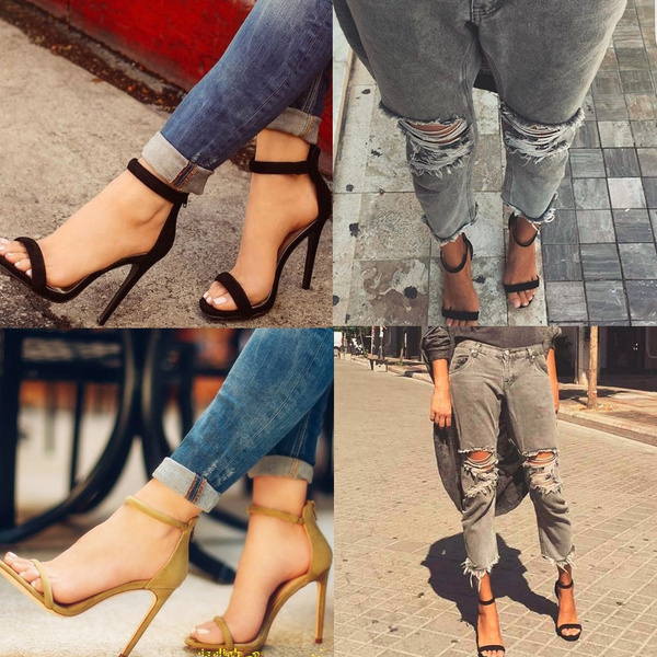 Picture of Women Fashion Black Thin Heel Sandals