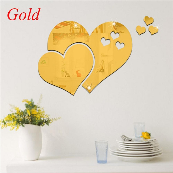 Wish | New 3D Home Art Room Decal Mirror Wall Sticker Love Hearts ...