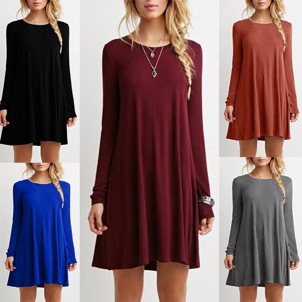 Picture of Women's Fashion Long Sleeve Long Tops Blouse Shirt Ladies Beach Boho Mini Dress