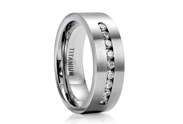 8MM Men's Fashion 316L Stainless Steel Titanium Wedding Band Ring Size 6-13