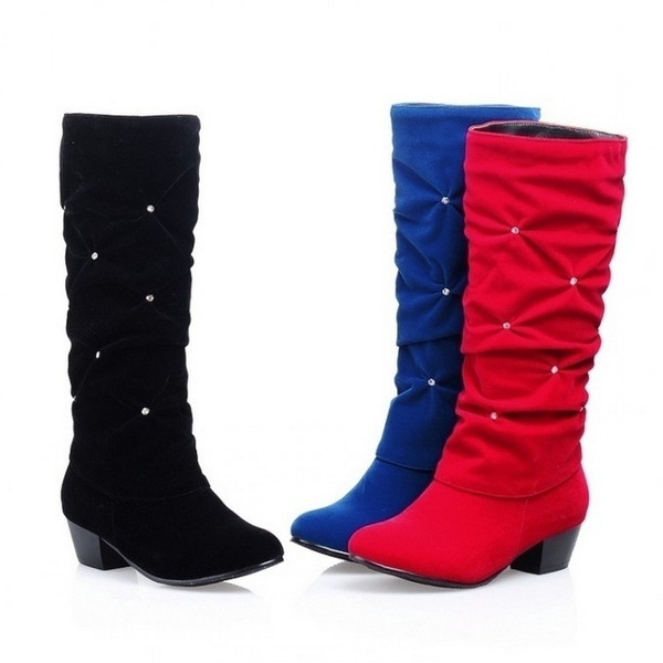 19a8a5950c New Women Low Heel Mid-calf Winter Boots Fashion Rhinestone Round Toe Snow  Boots Party Wedding Shoes Red Black Blue Plus Size