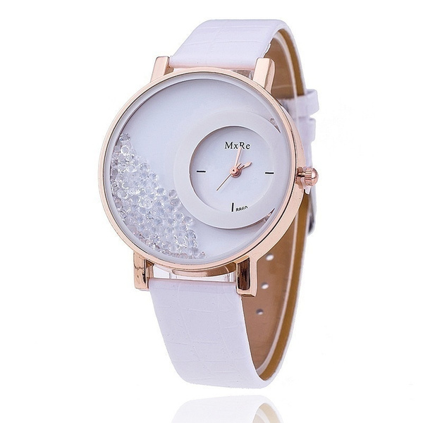 Picture of Retro Women Fashion Crystal Leather Wristwatch Sand Type Unique Design