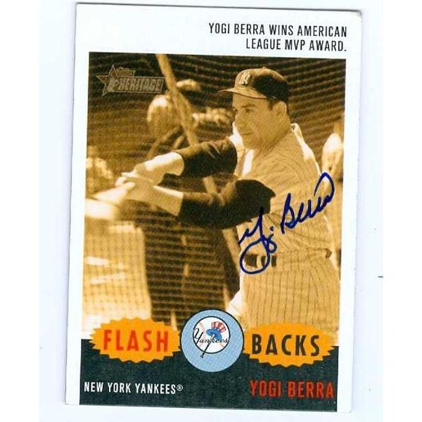 Autograph Warehouse 88187 Yogi Berra Autographed Baseball Card New York Yankees 2003 Topps Heritage No F2 Flash Backs 1954 Al Mvp