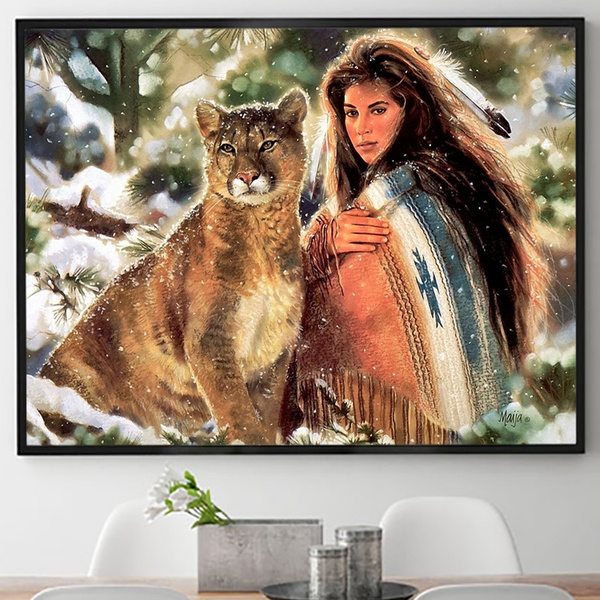Home Art Wall Decor Beautiful Girl Cat Oil Painting Picture Printed On Canvas