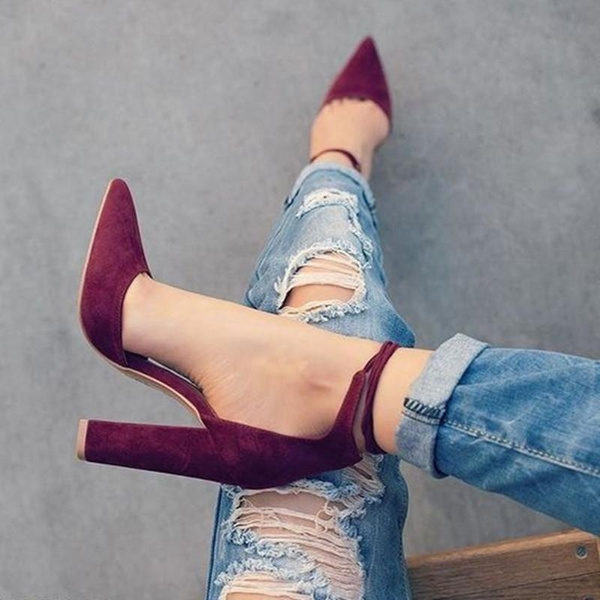 Picture of Pointed Strappy Pumps Sexy Retro High Thick Heels Shoes