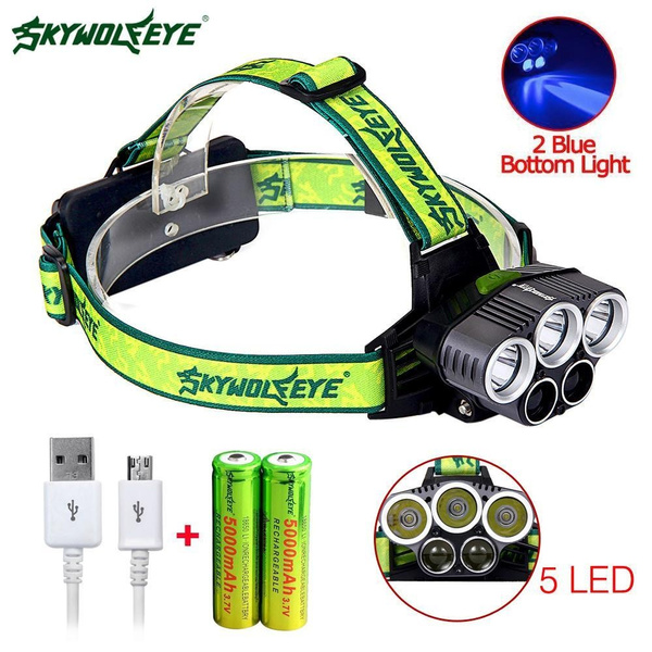 Led Rechargeable 5 40000 Lumens T6 Headlamp5000mah Battery Skywolfeye D9EHIW2