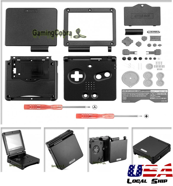 Custom Full Housing Shell Buttons for Game Boy Advance Sp Solid Black