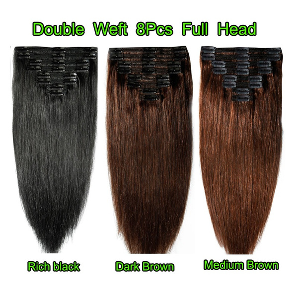 Wish 100 Remy Hair Full Head Double Weft Clip In Hair Extensions
