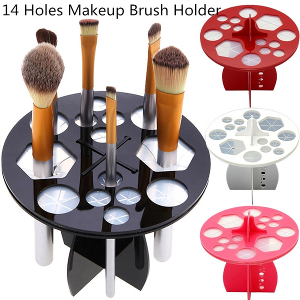 Picture of 8 Colors Black Round Makeup Brush Display Holder With 14 Holes