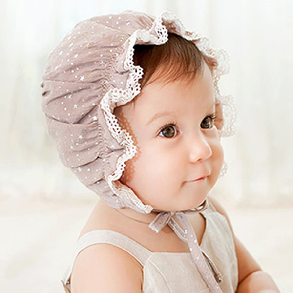 6694c2bdf5b Infant Newborn Baby Kids Lace Flower Beanie Sun Hat Bonnet Hats Baby ...