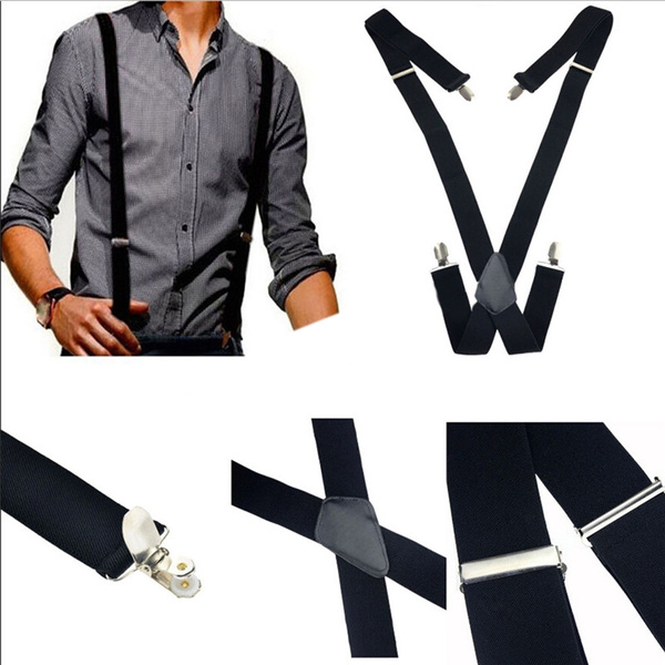 Men Suspenders Casual X-Back Cross Braces Clip On Elastic Belt Clothes Accessory