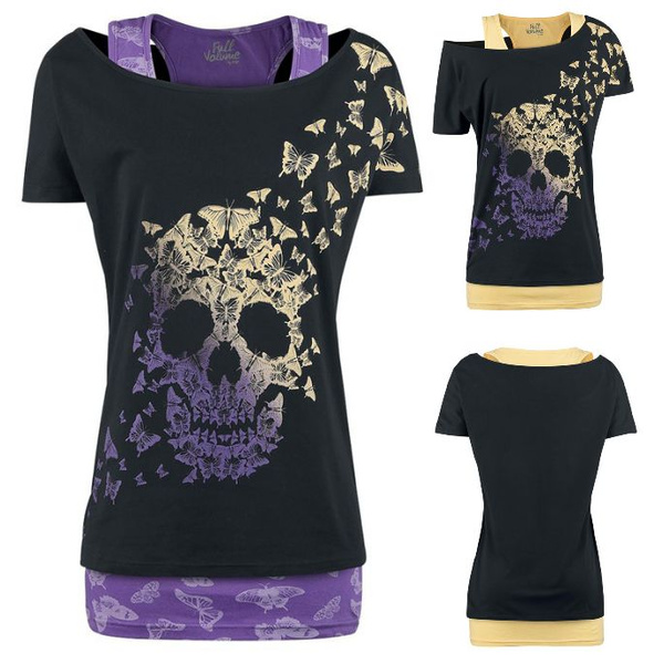 Picture of New Women Fashion Butterfly Skull Printing Slim Vest + T-shirt Two Pieces Set Tops Plus Size
