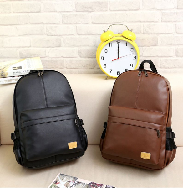 Picture of Casual Fashion Men Women Pu Leather Backpack School Bookbag Laptop Shoulder Bags