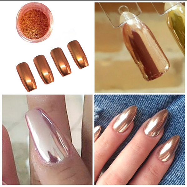 Wish | New ROSE GOLD NAILS POWDER Mirror Chrome Effect Pigment Nail ...
