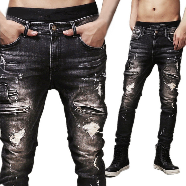 mens slim fit biker jeans 32