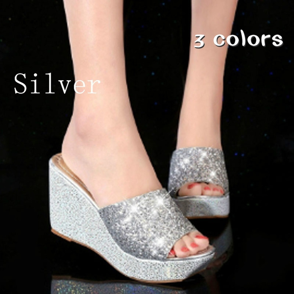 Picture of Summer Casual Wedge Skid Slippers High Heel Sandals Silver Bling Flip Flops Shoes Women Shoes