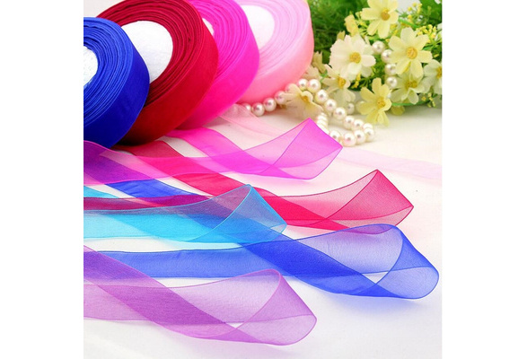 15mm 50 Yard/Rolls Pretty Silk Organza Transparent Ribbon For Wedding Party Decoration Webbing Crafts Gift Packing Belt
