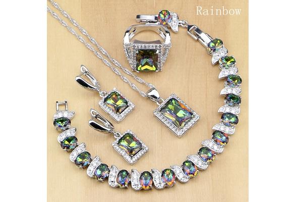 Sterling Silver Jewelry Mystic Rainbow Fire Created Topaz Jewelry Sets Women Wedding Earrings/Pendant/Necklace/Rings/Bracelet