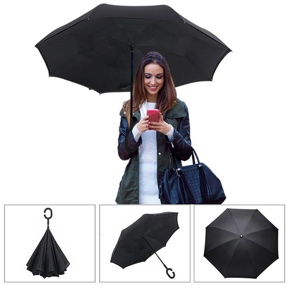 Wish 2017 New Type Of Creative Reverse Umbrella Reflex Anti Car Double Style Free Standing Long Handle Straight Sunny