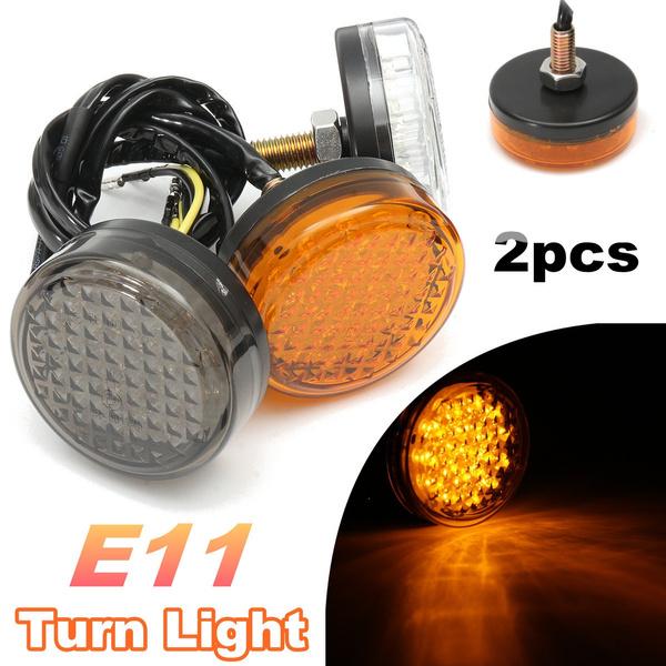 2x Universal Motorcycle Bike Amber LED Turn Signal Indicator Blinker Light Lamp
