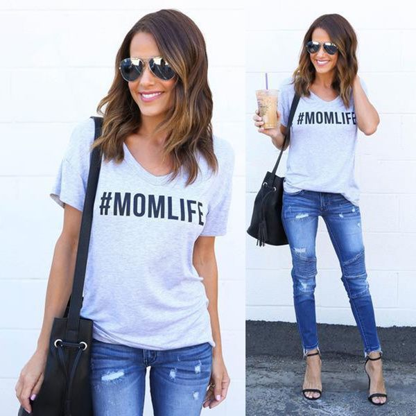 Picture of Women Casual Mom Life Letter Printed Short Sleeve Blouses Shirts