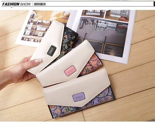Picture of Women's Fashion Floral Leather Wallet Long Envelope Clutch Purse Card Id Holder Delicate Casual Trifold Ladies Cash Phone Bag