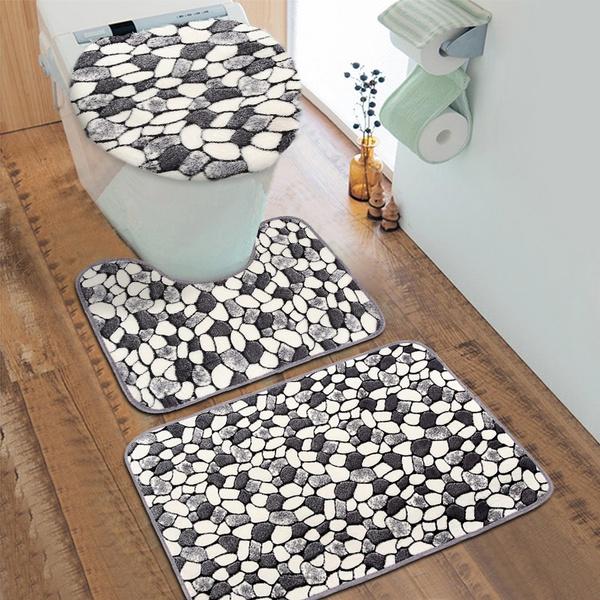 3Pcs Halloween  Non-Slip Bathroom Mat Set Bath Rug Door Carpet Toilet Lid Cover