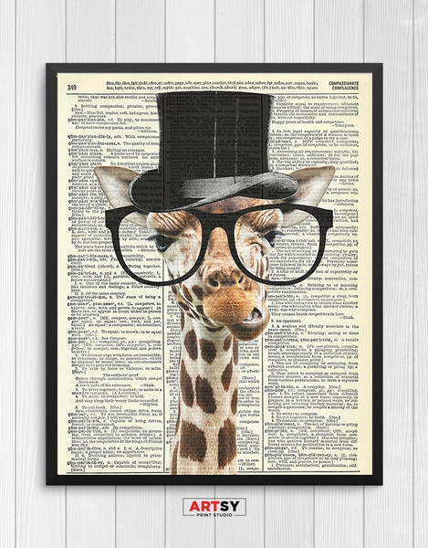 Wish | Dictionary Art Page Prints Cute Animal Giraffe Print Wall Art ...