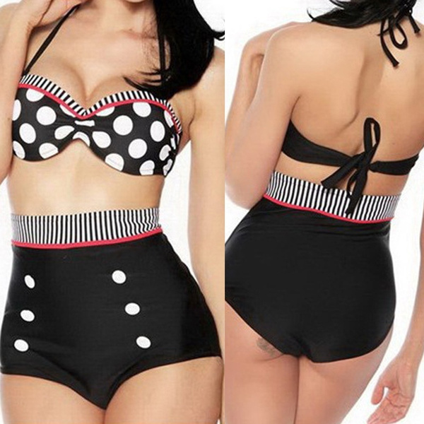 Plus Size Womens Spotted High Waisted Bikini Set Padded Swimwear Beach Swimsuit