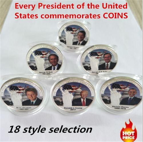 US 44Th President Obama/Trump Commemorative Coins Liberty  999 Silver  Challenge Coin (15 style selection)